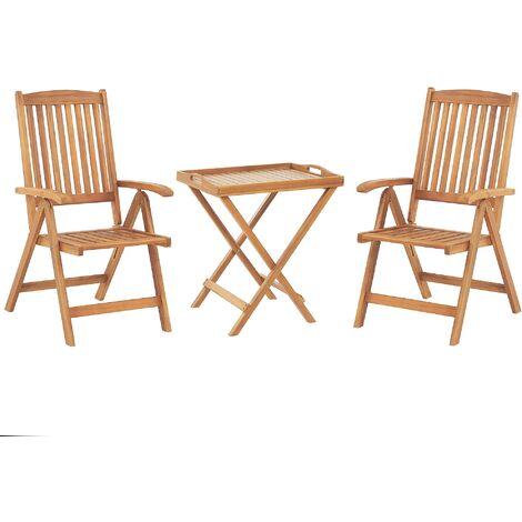 Set de terrasse table et 2 chaises en bois clair JAVA