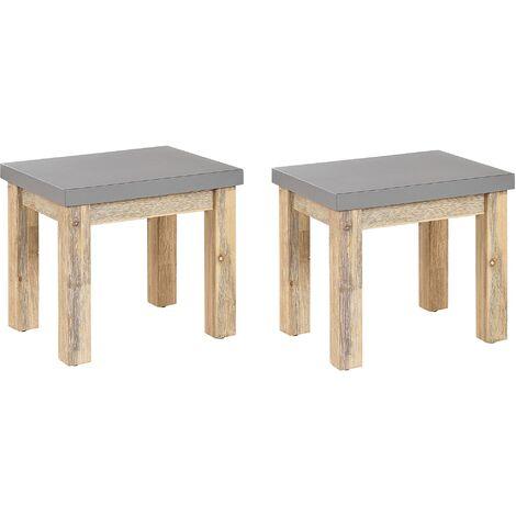Lot de 2 tabourets de jardin en fibre-ciment gris / pieds en bois acacia clair OSTUNI