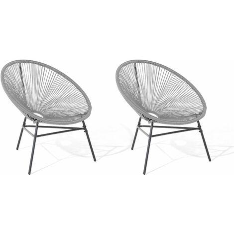 lot de 2 fauteuils spaghetti gris clair pour interieur et exterieur acapulco