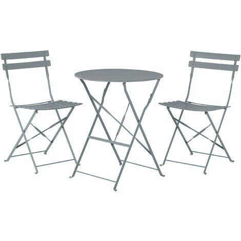 Salon de jardin bistrot table et 2 chaises en acier gris FIORI