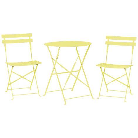 Salon de jardin bistrot table et 2 chaises en acier vert citron FIORI