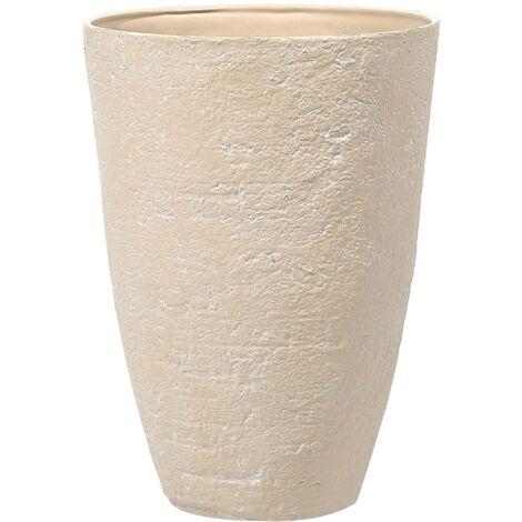 Grand cache-pot beige en pierre en forme de vase CAMIA