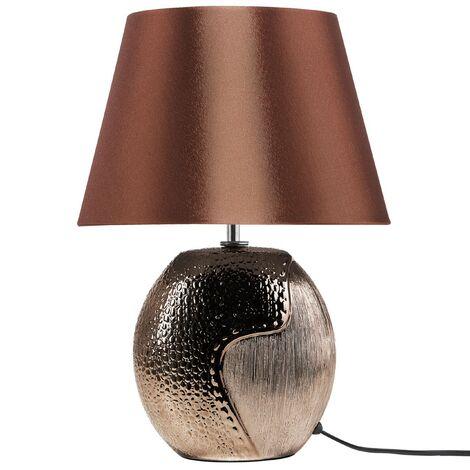 Lampe de chevet marron et argentée moderne ARGUN