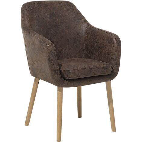 Chaise vintage avec accoudoirs en simili-cuir marron YORKVILLE