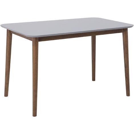 Table de salle à manger en bois d hévéa et gris 118 x 77 cm MODESTO