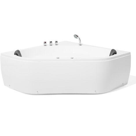 Baignoire angle balnéo 140 cm en acrylique blanc avec LED MEVES