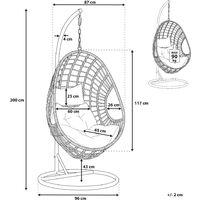 Fauteuil suspendu en rotin taupe avec support ARPINO