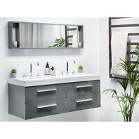 Meuble vasque gris avec miroir MALAGA