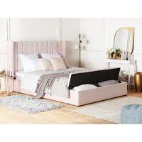 Lit double en velours rose pastel avec banc coffre 160 x 200 cm NOYERS