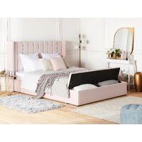Lit double en velours rose pastel avec banc coffre 180 x 200 cm NOYERS