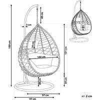 Fauteuil suspendu en rotin gris avec support ARSITA