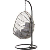Fauteuil suspendu en rotin gris avec support CASOLI