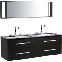 Meuble double vasque à tiroirs miroir inclus noir MALAGA