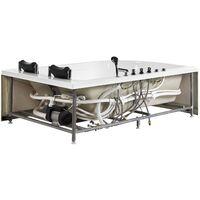 Baignoire balnéo angle côté gauche avec LED 180 cm blanche CALAMA