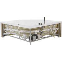 Baignoire balnéo angle côté gauche avec LED 150 cm blanche CACERES