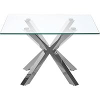 Table basse en verre avec pieds argentés 70 x 70 cm STARLIGHT