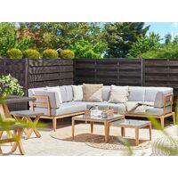 Salon de jardin modulable 6 places en aluminium bois clair et gris RIMA