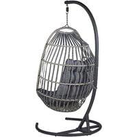Fauteuil suspendu en rotin gris foncé avec support SESIA