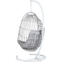 Fauteuil suspendu en rotin gris clair avec support SESIA