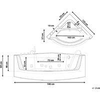 Baignoire balnéo angle noire avec LED 190 x 135 cm MARINA