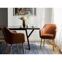Chaise avec accoudoirs en simili cuir marron YORKVILLE