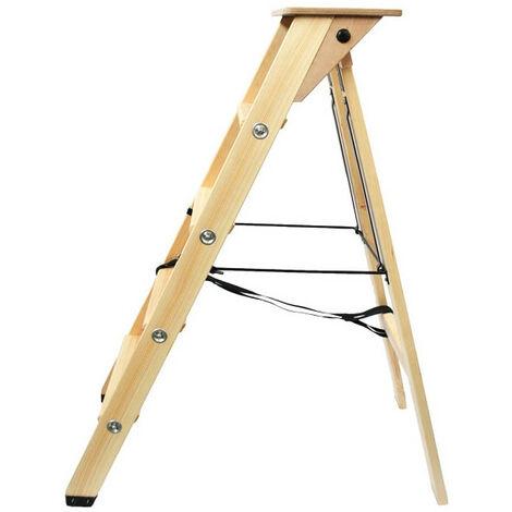Echelle escabeau en bois 4 marches avec tablette