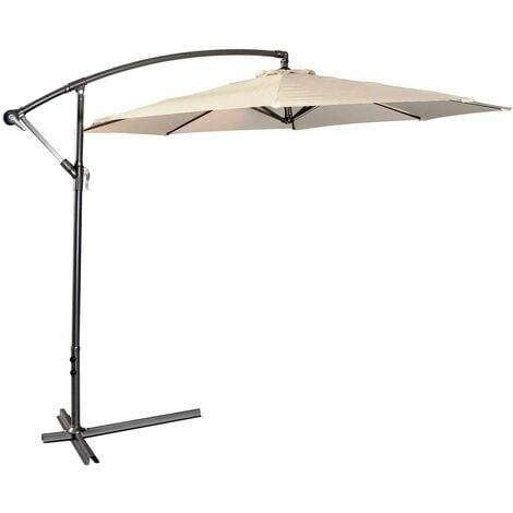 Sombrilla Parasol Excéntrico 3m para Terreza Jardín Fiestas patio Protección Solar con Ajuste de la Mano Beige