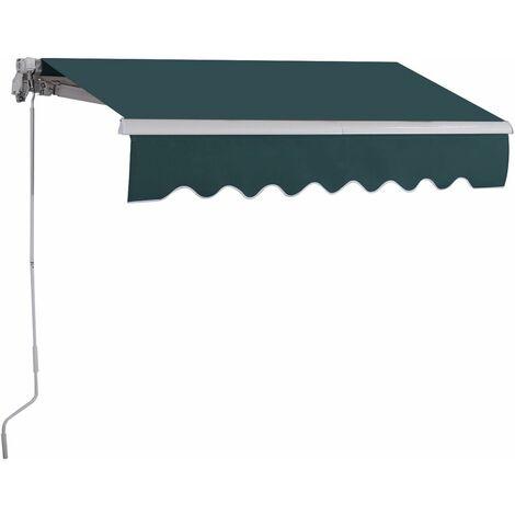 Toldo con Brazo Plegable de 2.5 x 2 Metros Toldo Manual Impermeable y Resistente a los Rayos UV Toldo para Balcón Terraza Puerta Ventana (Verde)