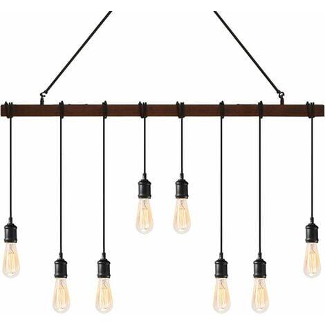 Lámpara Colgante Estilo Industrial con 8 Portalámparas E27 Lámpara para Cocina Salón Dormitorio Bar Sin Bombilla Interior