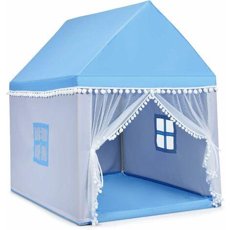 Casa de Juegos para Niños Tienda de Campaña para Niños Casita Infantil con Marco de Madera,Manta de Algodón y Techo Castillo Juguete para Niños 120x105x140 centímetros Azul