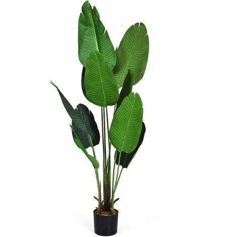 Planta Artificial Altura de 160 cm Palmera Tropical Artificial con Maceta y 10 Hojas Realísticas Planta Árbol Artificial para Oficina Hogar Decoración Interior