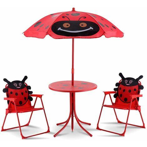 Juego de Mesa y 2 Sillas con Sombrilla Plegable Niños Muebles para Jardín Exterior Picnic Hogar Playa