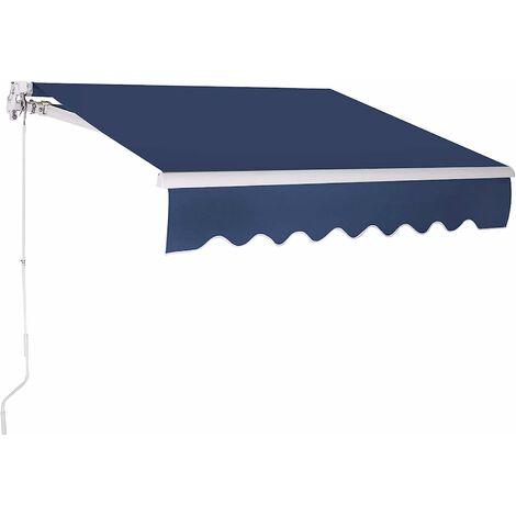 Toldo con Brazo Toldo Manual de 3 x 2,5 Metros Toldo con Manivela para Balcón Terraza (Azul Oscuro)
