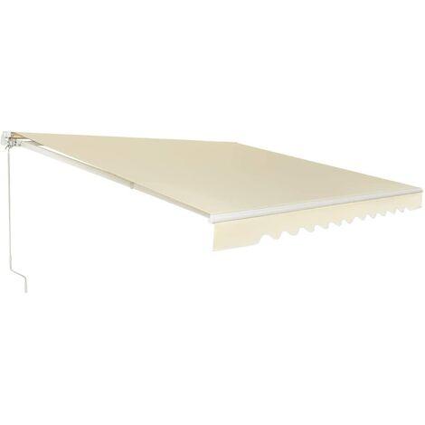 Toldo con Brazo Plegable Toldo Manual con Protección Solar Toldo Retráctil para Balcón Terraza Puerta Exterior (Beige, 400x250cm)