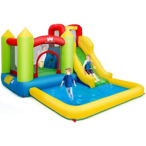 Castillo Hinchable con Piscina de Juego y Tobogán para Infantil Centro de Juego de 350x280x190cm Sin Soplador