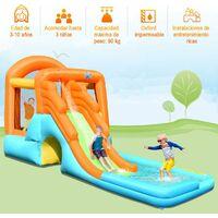 Castillo Hinchable con Tobogán Parque Acuatico para Niños Centro de Juego de 490 x 225 x 240cm para Jardín Exterior