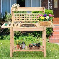 Banco Macetero para Jardín Mesa de Jardinero de Madera Soporte para Plantas Flores para Balcón Jardín 100-148x45x141cm