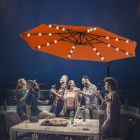 Sombrilla con LED Luces de Jardín de Ø300cm Sombrilla Inclinable Parasol para Terraza Playa Piscina Patio (Naranja)