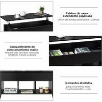 COSTWAY Mesa de Centro Elevable de Madera con Compartimiento 104,5x49,5x48,5 cm Mesa de Café (Negro)