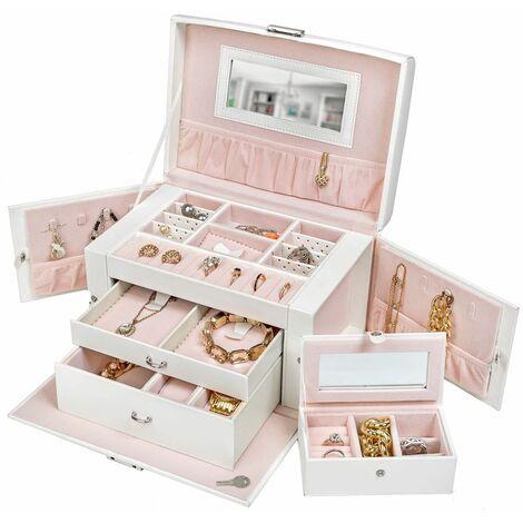 Jewellery box with mirror incl. key - girls jewellery box, wooden jewellery box, jewellery storage - white