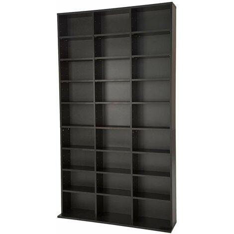 CD storage - 27 shelves for 1080 CDs - dvd storage, cd rack, book shelf - black