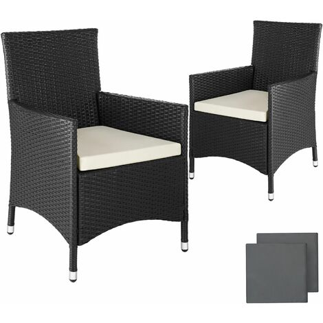 2 garden chairs rattan + 4 seat covers model 2 - outdoor seating, garden seating, rattan chair - black