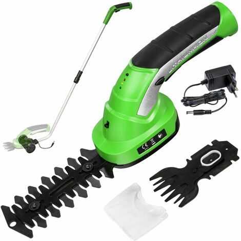 Cordless hedge trimmer with 2 attachments and telescopic pole incl. battery - grass trimmer, long reach hedge trimmer, electric hedge trimmer - green