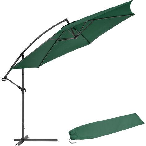 Cantilever Parasol 350cm with protective sleeve - garden parasol, overhanging parasol, banana parasol - green