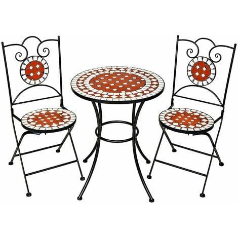Garden furniture set moasic design 2 chairs + table Ø 60 cm - garden table and chairs, outdoor table and chairs, garden table and chairs set - brown