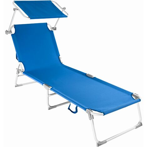 Sun lounger aluminium Victoria 4 settings - reclining sun lounger, sun chair, foldable sun lounger - blue