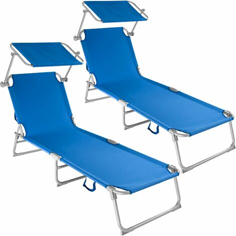 2 Sun loungers with sun shade - reclining sun lounger, sun chair, foldable sun lounger - blue