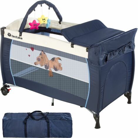 Travel cot dog with changing mat and play bar - cot bed, baby travel cot, pop up travel cot - blue