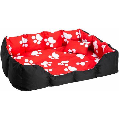 Dog bed made of polyester - large dog bed, dog basket, dog snuggle bed - black/red/white