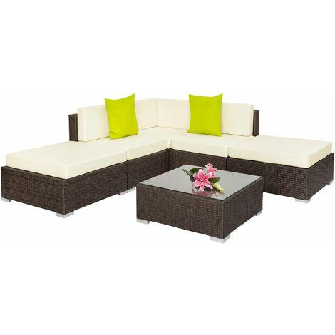 Rattan garden furniture set Paris, variant 1 - garden sofa, garden corner sofa, rattan sofa - antique brown